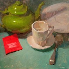 "Daily Paintworks - ""Tea Time"" by Carol Marine 12sq oil on gessoboard This is another larger painting I did earlier this year. I remember when I arranged it, I had everything but the red tea bag and felt it still needed something. I think I tried every single other object in my studio before I realized a tea bag would be perfect! Luckily I have a whole slew of tea bags in all sorts of colors."