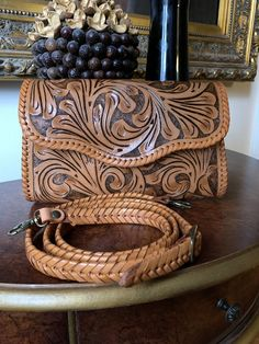 """Hand-Tooled Leather Small Crossbody & Clutch """"Ondulada"""" by ALLE Red Color"""