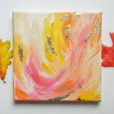 Abstract painting with gold foil - Modern arcylic art on canvas with gold leaf by Bernadett Shepherd