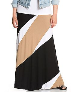 Bold, diagonal stripes take our best-loved maxi skirt to dramatic new heights! Get ready for compliments with this versatile, yet statement-making style that takes you from work to weekend effortlessly. Flattering with all the comfort you could want, it's a winner in soft knit with a wide elastic waistband for pull-on style.  lanebryant.com