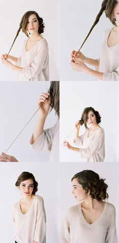 1. Take a 1 inch thick piece of hair in your hands and twist it. 2. Hold one tiny strand at the top and push the remaining hair up into a ringlet on your head.  3. Wrap the remaining strand around the ringlet and use a bobby pin to pin the ringlet to your head 3. To recreate the top image, grab a friend who can help you create and pin ringlets all the way around.