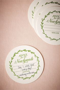 Vined Advice Letterpress Coasters from BHLDN