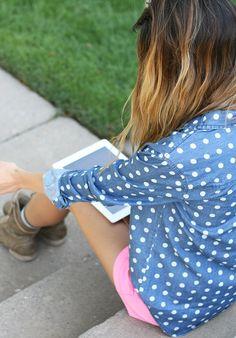 Urban Outfitter's polka dot chambray
