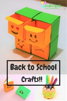 Looking for some fun back to school paper crafts for kids? We have 4 easy back to school crafts for younger kids, tweens and teens. They will love the corner bookmarks with cat and mouse face, mini notebooks, paper pen holder and origami organiser Back To School Crafts For Kids, Arts And Crafts For Teens, Arts And Crafts Supplies, Paper Crafts For Kids, Crafts For Kids To Make, Fun Crafts, Kids Diy, Preschool Crafts, Decor Crafts