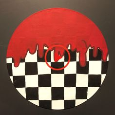 Red Drip Black and White Checkered Painted Record Wall Art Cute Canvas Paintings, Small Canvas Art, Mini Canvas Art, Easy Canvas Art, Hippie Painting, Trippy Painting, Aesthetic Painting, Aesthetic Art, Record Wall Art