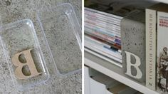 serre livre bloc béton - Dans un moule en plastique dur placez la lettre en bois puis faire couler le béton.