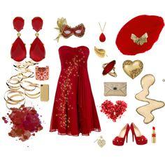 """red and gold fun"" by kittygirl9796 on Polyvore"