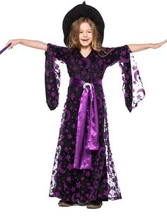 b44949204cfb HandZY Girls Halloween Purple Witch Cape Dress Costume Moon Stars Print  Dresses Cosplay Kids * Click on the photo for added details.