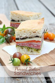 Italian Sandwiches Pressed Italian Sandwiches Can make this into a vegetarian sandwich for a lighter version.Pressed Italian Sandwiches Can make this into a vegetarian sandwich for a lighter version. Tea Sandwiches, Italian Sandwiches, Soup And Sandwich, Vegetarian Sandwiches, Salami Sandwich, Finger Sandwiches, Sandwich Recipes, Lunch Recipes, Comida Picnic