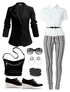 """""""black and white"""" by gallant81 ❤ liked on Polyvore featuring Vero Moda, Alexander McQueen, Forever 21, Brighton, Bulgari, Sif Jakobs Jewellery, women's clothing, women's fashion, women and female"""