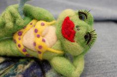 Frog, Needle Felted Frogarita Frog