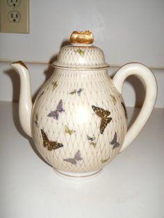 Japanese Kutani Eggshell Porcelain Teapot Butterflies c 1920s