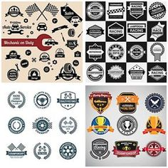 Racing cars vintage sticker collection set vector