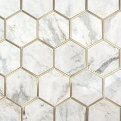 Bianco Orion Brass 6 in. Hexagon Polished Marble Mosaic - 12 x 11 - 100654623 Bianco Orion Brass 6 in. Marble Mosaic, Mosaic Glass, Mosaic Tiles, Tiling, Marble Room, Wall Tiles, Hexagon Backsplash, Hexagon Tiles, Kitchen Backsplash