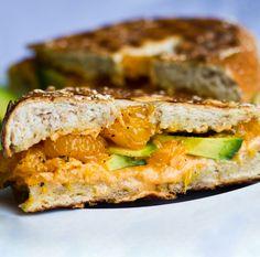 pressed avocado & mandarin orange bagel sandwich. what kinda combo is that? YUM!!!!!!!!!