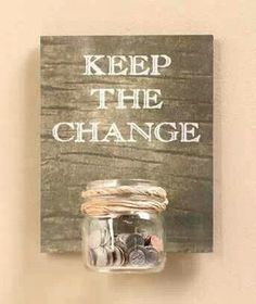 Great idea! We just started a change jar for offerings at church and it could be moved to here in the laundry room, love it!