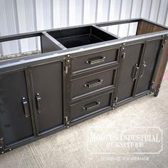 This industrial double sink bathroom cabinet is a unique combination of casual function and industrial style. Designed to complement your industrial decor, the Modern Industrial Furniture, Industrial Kitchen Design, Vintage Industrial Furniture, Industrial Bathroom, Industrial Style, Industrial Interiors, Industrial Office, Industrial Farmhouse, Industrial Lighting