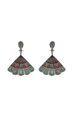 Silvia Furmanovich Emerald and Diamond Fan Earrings