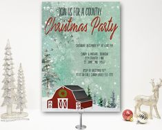 Charming barn Christmas Party Invitation with a rustic winter country farm scene featuring a brown barn, mountain and trees. Also available in red and white barn. Christmas Dinner Invitation, Christmas Party Invitations, Birthday Party Invitations, Christmas Cocktail Party, Christmas Cocktails, Holiday Parties, Woodland Christmas, Country Christmas