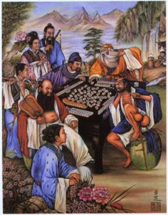 "There are many paintings of the ""Eight Immortals"" playing Mahjong. This is a beautiful example.     The Eight Immortals are a group of legendary xian (immortals) in Chinese mythology."