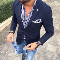 jeans, navy blazer, check shirt men style outfit