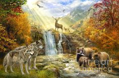 Picture This Nature Scenic Wolves Bears Deer Cotton Quilting Fabric Panel - jrs fabrics Kinkade Paintings, Thomas Kinkade, Cotton Quilting Fabric, Animal Totems, Autumn Art, Wildlife Art, Beauty Art, Us Images, Fine Art America