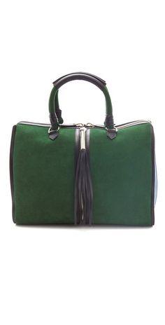 emerald bag, perfect size, tassel.