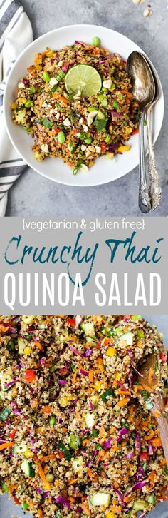 This Gluten Free Crunchy Thai Quinoa Salad Is Loaded With Veggies Then Tossed With A Light Sesame Dressing. It's High In Protein, Fiber And Flavor And Guaranteed To Become A Favorite Around Your House The Perfect Side To Bring To That Next Party Healthy Salad Recipes, Vegetarian Recipes, Cooking Recipes, Avocado Recipes, Cooking Tips, Cooking Games, Clean Eating, Healthy Eating, Sans Gluten