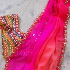 Love all the colors! Can totally see myself wearing this! Chiffon Saree With Heavy Mirror Work designer Blouse Mirror Work Blouse Design, Jute, Chiffon Saree, Saree Dress, Sari Blouse, Blouse Models, Dress Models, Simple Sarees, Elegant Fashion Wear
