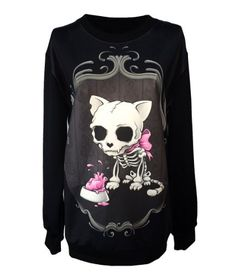 Gothic Clothing Sweatshirts Skull Cat Hoodies Pullovers Sweater For Women Ideasuke Sweatshirt