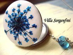 Flower Dreams  Enameled locket necklace with by VillaSorgenfrei, $22.90