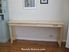 Restyle Relove: My New Lounge Room Office Area and Hubby Built Desk!  (Like this look for a bench in the bedroom)