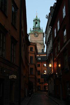 Tower of Storkyrkan at dusk, Stockholm