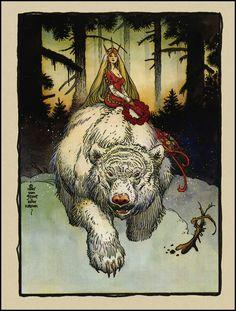 "by William Stout, an homage to Norwegian artist Theodor Kittelsen's ""The White Bear King."""