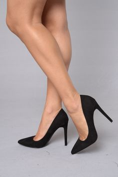 "- Available in Black - Pointed Toe Pump - 4"" Heel - Suede"