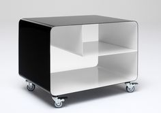 Muller RW106 (RW105 without shelf) bent steel trolley table. Can be used as stool (H46). €360 from Germany. Many colours +two-tone.