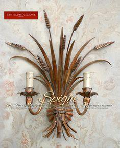 Covone di Spighe. Applique Oro Antico | GBS Illuminazione – Ferro Battuto – Wrought Iron