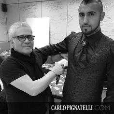 The designer and the #juventus player Arturo Vidal who chose the style of #carlopignatelli for his #wedding.
