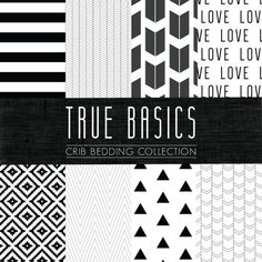 True Basics Crib Bedding Set  Black and White Custom by CozybyJess, $62.00 Black and white - you choose your fabric crib bedding!