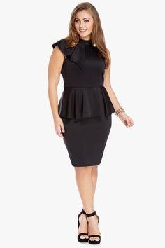 short sleeve bodycon plus size black dress
