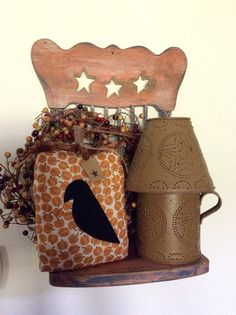 Primitive pumpkin pillow tuck with black crow by CraftsbyNa