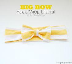 Big Bow Head Wrap Tutorial on www.girllovesglam.com #diy #tutorial #accessory