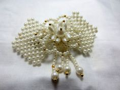 Faux Pearl barrette hair clip vintage gold by TreasureTrovebyTish, $5.00