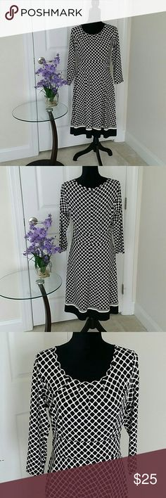 NWOT Talbots size M dress 👉Description :  classic l elegant l just below knee length l 3/4 sleeves l drapes nicely. 👉Material : 92% nylon and 8% spandex.  👉Color : Black and White .   👉Condition : Excellent never worn brand new without tags l No holes l No stains l No snags l No pilling l No damage.  👉Measurements will be provided on request.  👉Discount  with  bundles.  No trades 🚫 talbots  Dresses