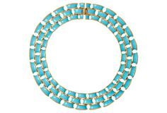 Triple-Row Link Necklace, Blue