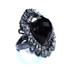 Black Doublet Quartz with White Diamondlite Rings Beautiful Ring for Woman | Love Gemstone Ring | Best Valentine Day Gift