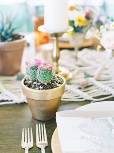 cactus as wedding favors - Melissa Jill Photography