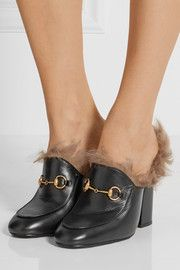 Shearling-lined leather mules