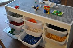Lego table with the Trofast system from Ikea. Great idea for the boys . - Do it yourself - Kinderzimmer - Lego table with the Trofast system from Ikea. Great idea for the boys … – Do it yourself decora - Mesa Lego, Lego Table Ikea, Lego Table With Storage, Lego Play Table, Storage For Legos, Lego Storage Drawers, Storage Bins, Ikea Trofast Storage, Trofast Hack