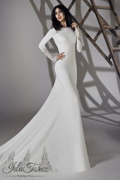 Modest Trumpet-Mermaid Bateau Natural Court Train Stretch Crepe Ivory Long Sleeve Open Back Wedding Dress 01064 #weddingdresses #cocomelody #designercollections